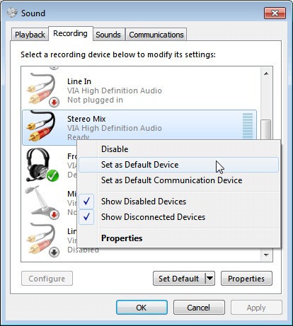 Set stereo mix as the default device